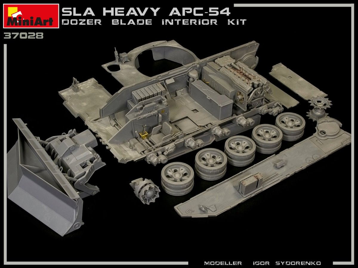Build Up of Kit: 37028 SLA APC T-54 w/DOZER BLADE. INTERIOR KIT