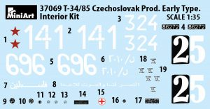 Content box 37069 T-34/85 CZECHOSLOVAK PROD. EARLY TYPE. INTERIOR KIT