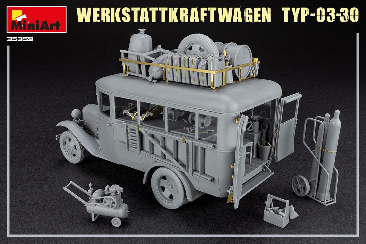 Einrichtung WWII WERKSTATTWAGEN TYP-03-30 inkl Figur- Bausatz 1:35 Werkzeug u