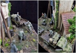 35150 MB 1500A 4×4 CARGO TRUCK + 36021 DIORAMA w/NORMANDY HOUSE + MartinGiangrecodioramics