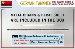Content box 35350 GERMAN TANKMEN WITH GANTRY CRANE & MAYBACH HL 120 ENGINE
