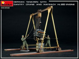 35350 GERMAN TANKMEN WITH GANTRY CRANE & MAYBACH HL 120 ENGINE