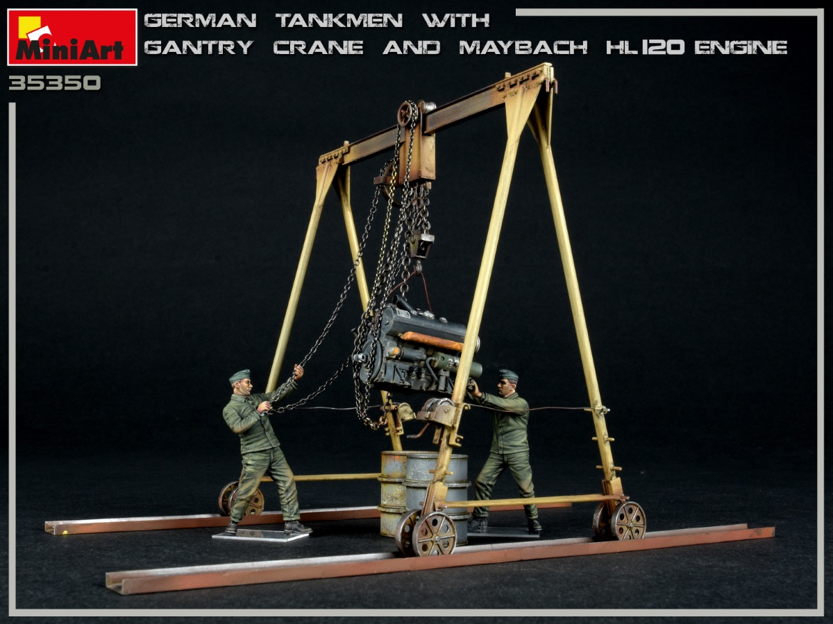 New Photos of Kit: 35350 GERMAN TANKMEN WITH GANTRY CRANE & MAYBACH HL 120 ENGINE
