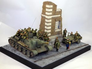 35048 SOVIET COMMAND CAR w/CREW + 35002 SOVIET INFANTRY ON THE MARCH + 35512 THE CORNER DIORAMA BASE + Andrey Mutafyan