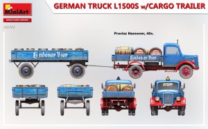Side views 38023 GERMAN TRUCK L1500S w/CARGO TRAILER