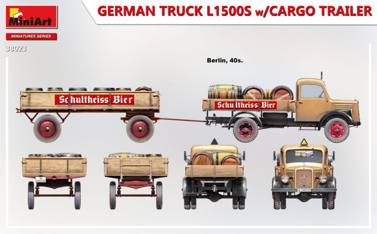 38023 GERMAN TRUCK L1500S w/CARGO TRAILER