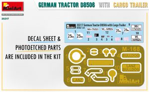 Content box 35317 GERMAN TRACTOR D8506 WITH CARGO TRAILER