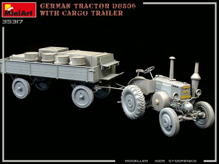 35317 GERMAN TRACTOR D8506 WITH CARGO TRAILER