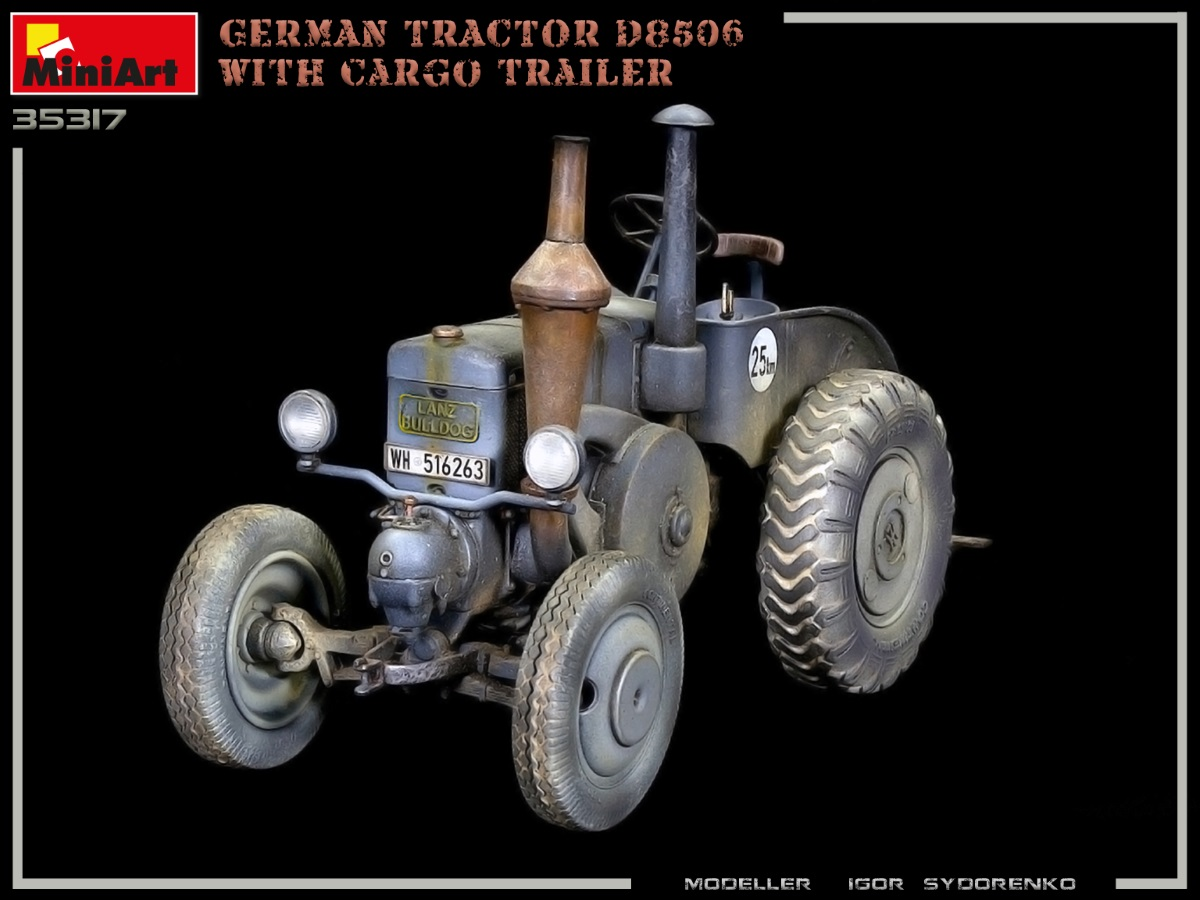 Build Up Photos of Kit: 35317 GERMAN TRACTOR D8506 WITH CARGO TRAILER
