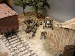 """35288 RAILWAY COVERED GOODS WAGON 18t """"NTV"""" TYPE 35581 WOODEN BOXES & CRATES 35597 GERMAN 200L FUEL DRUMS WW2 38012 GERMAN RAILROAD STAFF 1930-40s 35561 RAILWAY TRACK. EUROPEAN GAUGE 35286 GERMAN SOLDIERS WITH JERRY CANS Evgeny Kapuka"""