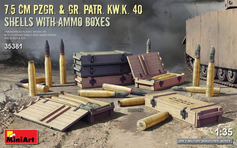7.5 CM PZGR. & GR. PATR. KW.K. 40  SHELLS WITH AMMO BOXES