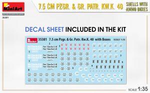 Content box 35381 7.5 CM PZGR. & GR. PATR. KW.K. 40  SHELLS WITH AMMO BOXES