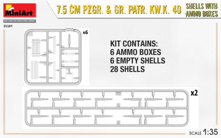 35381 7.5 CM PZGR. & GR. PATR. KW.K. 40  SHELLS WITH AMMO BOXES