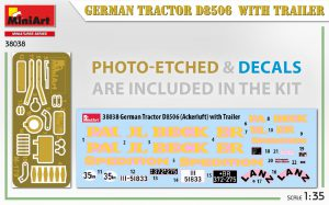 Content box 38038 GERMAN TRACTOR D8506 WITH TRAILER