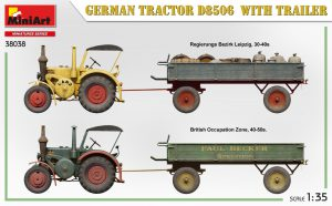 Side views 38038 GERMAN TRACTOR D8506 WITH TRAILER
