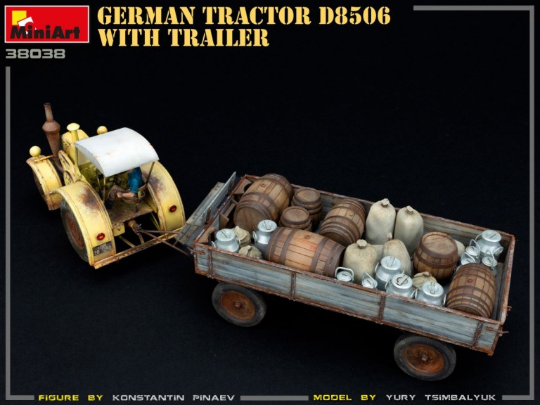 38038 GERMAN TRACTOR D8506 WITH TRAILER
